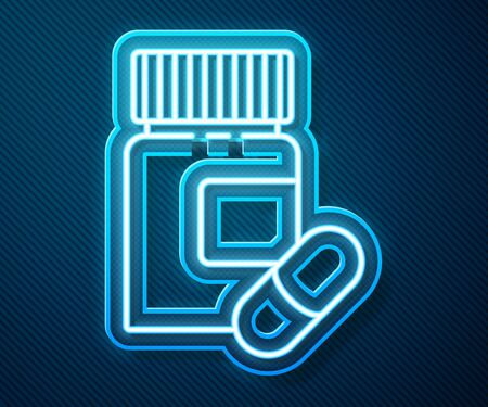 Glowing neon line Medicine bottle and pills icon isolated on blue background. Bottle pill sign. Pharmacy design. Vector Illustration