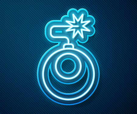 Glowing neon line Bomb ready to explode icon isolated on blue background. Vector Illustration