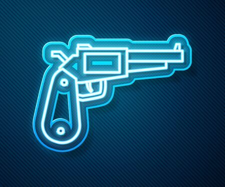 Glowing neon line Revolver gun icon isolated on blue background. Vector Illustration