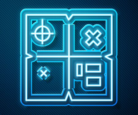Glowing neon line Treasure map icon isolated on blue background. Vector Illustration
