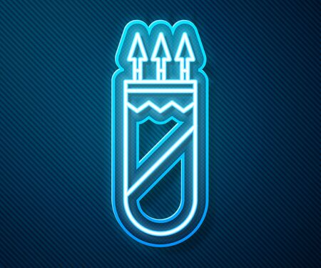 Glowing neon line Quiver with arrows icon isolated on blue background. Vector Illustration