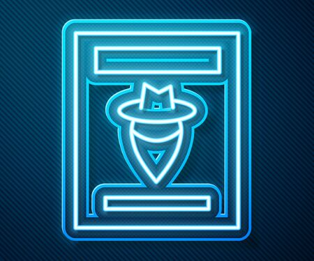 Glowing neon line Wanted western poster icon isolated on blue background. Reward money. Dead or alive crime outlaw. Vector Illustration 向量圖像