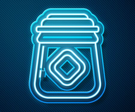 Glowing neon line Jar of honey icon isolated on blue background. Food bank. Sweet natural food symbol. Vector Illustration Ilustrace