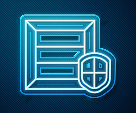 Glowing neon line Delivery pack security with shield icon isolated on blue background. Delivery insurance. Insured cardboard boxes beyond the shield. Vector Illustration