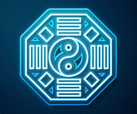 Glowing neon line Yin Yang symbol of harmony and balance icon isolated on blue background. Vector Illustration