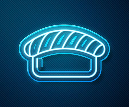 Glowing neon line Sushi icon isolated on blue background. Traditional Japanese food. Vector Illustration