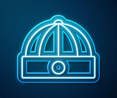 Glowing neon line Chinese hat icon isolated on blue background. Vector Illustration