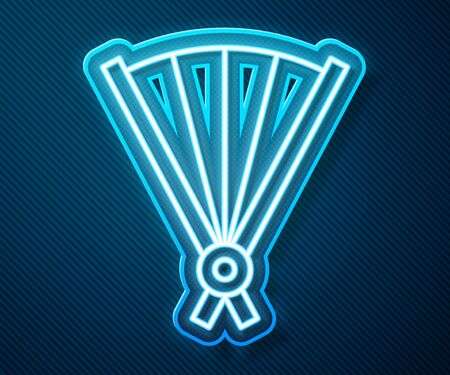 Glowing neon line Traditional paper chinese or japanese folding fan icon isolated on blue background. Vector Illustration