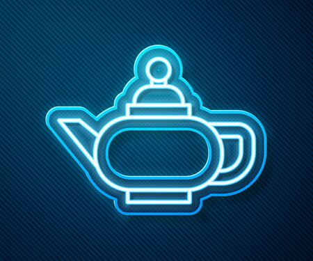 Glowing neon line Traditional Chinese tea ceremony icon isolated on blue background. Teapot with cup. Vector Illustration
