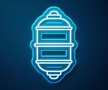 Glowing neon line Chinese paper lantern icon isolated on blue background. Vector Illustration