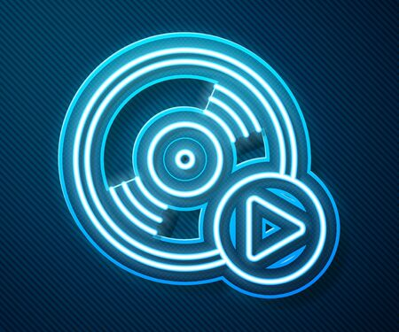 Glowing neon line Vinyl disk icon isolated on blue background. Vector Illustration
