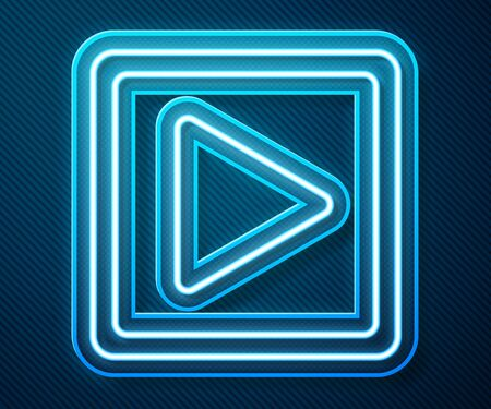 Glowing neon line Play in square icon isolated on blue background. Vector Illustration