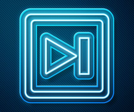 Glowing neon line Fast forward icon isolated on blue background. Vector Illustration Illusztráció