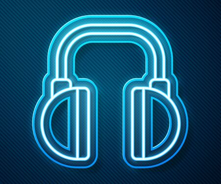 Glowing neon line Headphones icon isolated on blue background. Earphones. Concept for listening to music, service, communication and operator. Vector Illustration Banque d'images - 140526559