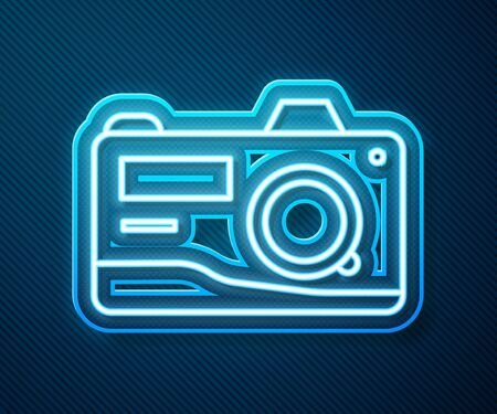 Glowing neon line Photo camera icon isolated on blue background. Foto camera icon. Vector Illustration