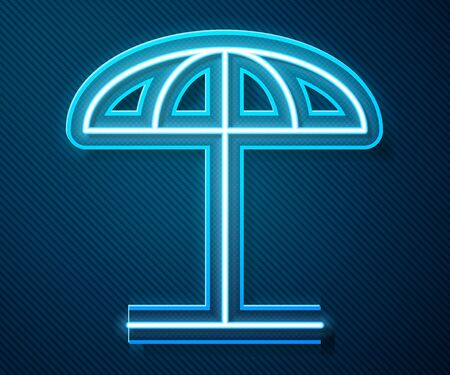 Glowing neon line Sun protective umbrella for beach icon isolated on blue background. Large parasol for outdoor space. Beach umbrella. Vector Illustration Ilustração