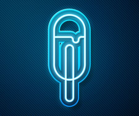 Glowing neon line Ice cream icon isolated on blue background. Sweet symbol. Vector Illustration