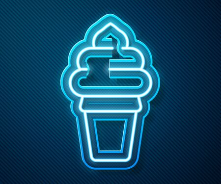 Glowing neon line Ice cream in waffle cone icon isolated on blue background. Sweet symbol. Vector Illustration
