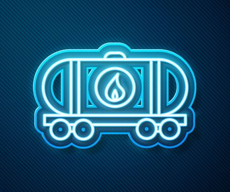 Glowing neon line Oil railway cistern icon isolated on blue background. Train oil tank on railway car. Rail freight. Oil industry. Vector Illustration Stock Illustratie