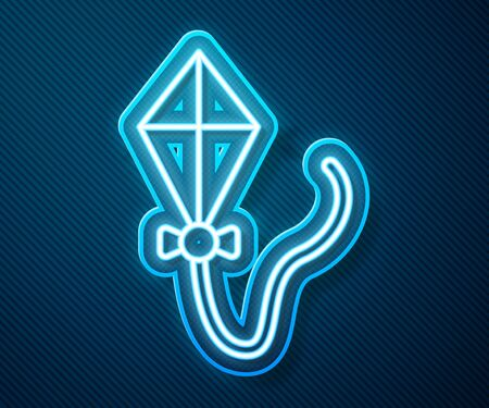 Glowing neon line Kite icon isolated on blue background. Vector Illustration 일러스트