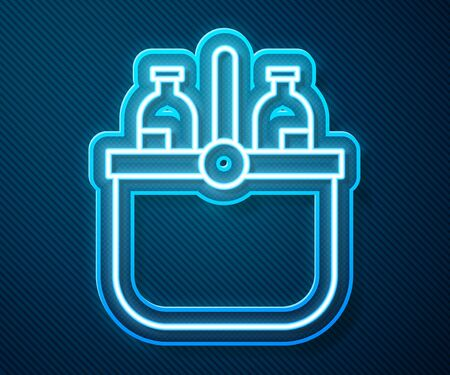 Glowing neon line Cooler bag and water icon isolated on blue background. Portable freezer bag. Handheld refrigerator. Vector Illustration