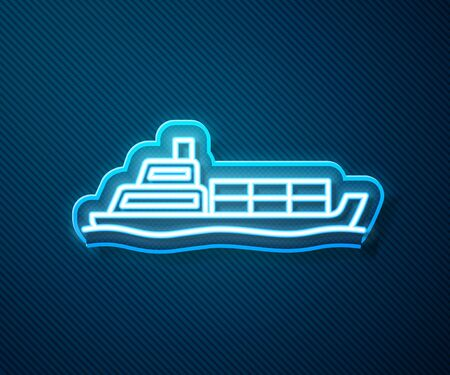 Glowing neon line Oil tanker ship icon isolated on blue background. Vector Illustration