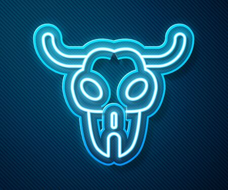 Glowing neon line Buffalo skull icon isolated on blue background.  Vector Illustration