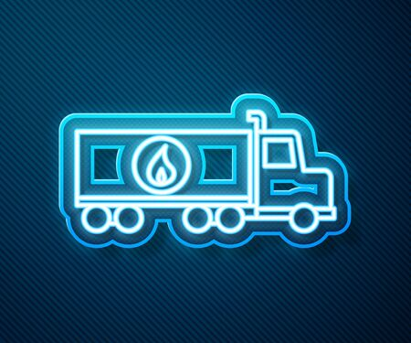 Glowing neon line Tanker truck icon isolated on blue background. Petroleum tanker, petrol truck, cistern, oil trailer. Vector Illustration