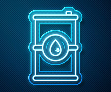 Glowing neon line Barrel oil icon isolated on blue background. Vector Illustration