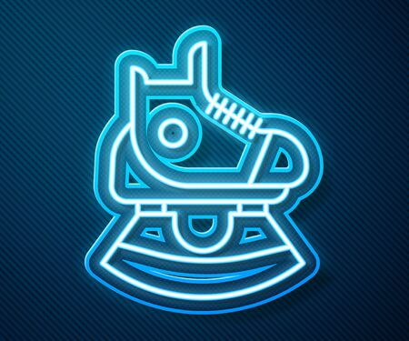 Glowing neon line Skates icon isolated on blue background. Ice skate shoes icon. Sport boots with blades. Vector Illustration