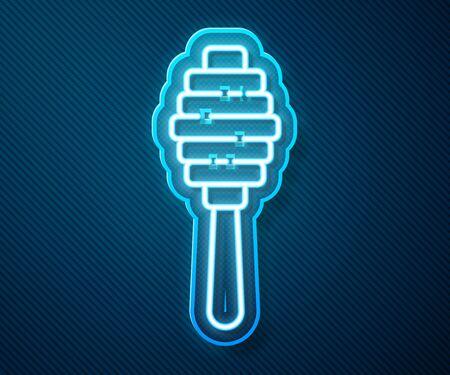 Glowing neon line Honey dipper stick icon isolated on blue background. Honey ladle. Vector Illustration Ilustracja