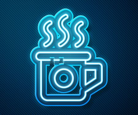 Glowing neon line Cup of tea icon isolated on blue background. Sweet natural food. Vector Illustration