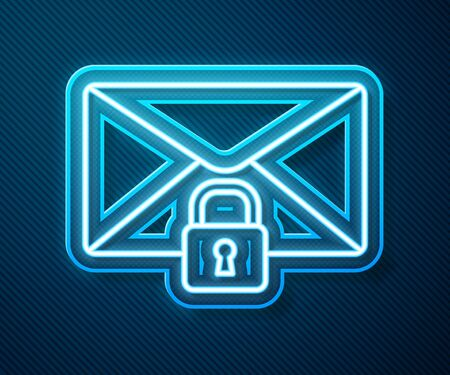 Glowing neon line Mail message lock password icon isolated on blue background. Envelope with padlock. Private, security, secure, protection, privacy. Vector Illustration
