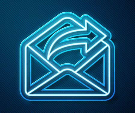 Glowing neon line Outgoing mail icon isolated on blue background. Envelope symbol. Outgoing message sign. Mail navigation button. Vector Illustration