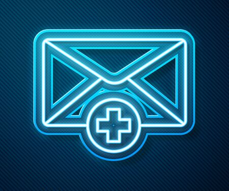 Glowing neon line Envelope icon isolated on blue background. Received message concept. New, email incoming message, sms. Mail delivery service. Vector Illustration