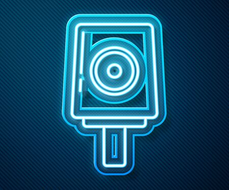 Glowing neon line Spray can nozzle cap icon isolated on blue background. Vector Illustration Ilustração