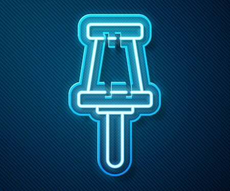 Glowing neon line Push pin icon isolated on blue background. Thumbtacks sign. Vector Illustration Ilustrace