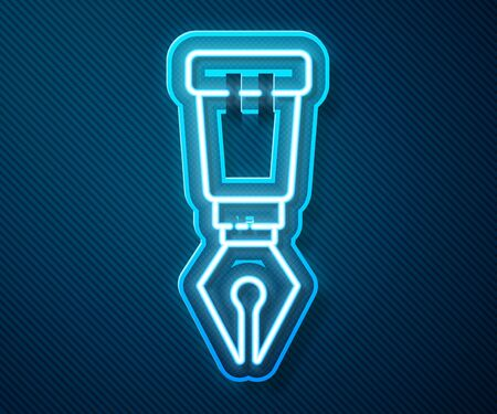 Glowing neon line Fountain pen nib icon isolated on blue background. Pen tool sign. Vector Illustration Ilustrace