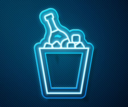 Glowing neon line Bottle of champagne in an ice bucket icon isolated on blue background. Vector Illustration