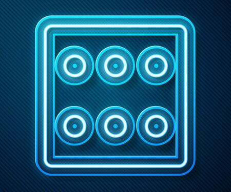 Glowing neon line Game dice icon isolated on blue background. Casino gambling. Vector Illustration Иллюстрация