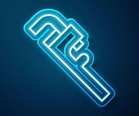 Glowing neon line Pipe adjustable wrench icon isolated on blue background. Vector Illustration Ilustração