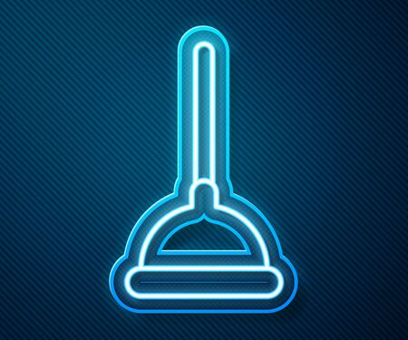 Glowing neon line Rubber plunger with wooden handle for pipe cleaning icon isolated on blue background. Toilet plunger. Vector Illustration Vectores
