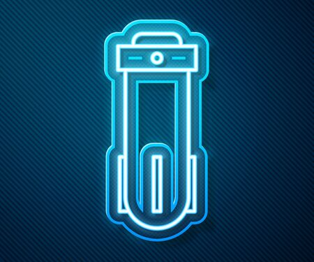 Glowing neon line Water filter icon isolated on blue background. System for filtration of water. Reverse osmosis system. Vector Illustration