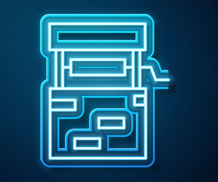 Glowing neon line Well icon isolated on blue background. Vector Illustration
