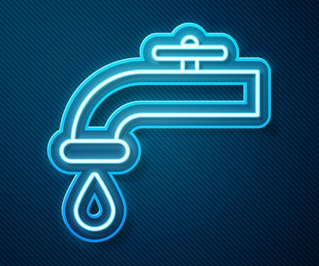 Glowing neon line Water tap with a falling water drop icon isolated on blue background. Vector Illustration