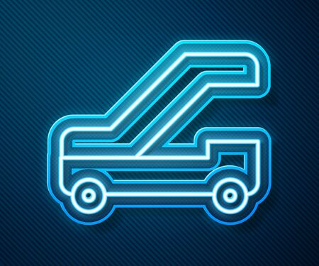 Glowing neon line Passenger ladder for plane boarding icon isolated on blue background. Airport stair travel. Vector Illustration