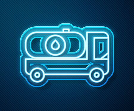 Glowing neon line Fuel tanker truck icon isolated on blue background. Gasoline tanker. Vector Illustration Stock Illustratie