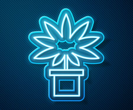 Glowing neon line Medical marijuana or cannabis plant in pot icon isolated on blue background. Marijuana growing concept. Hemp potted plant. Vector Illustration