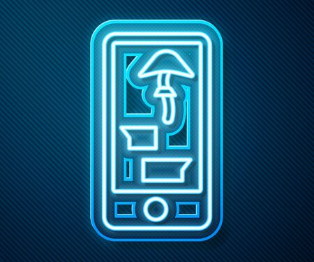 Glowing neon line Buying drugs online on mobile phone icon isolated on blue background. Online buying symbol. Vector Illustration