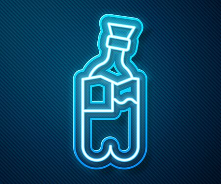 Glowing neon line Glass bong for smoking marijuana or cannabis icon isolated on blue background. Vector Illustration